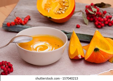 Seasonal Still Life: Pumpkin Soup and Rowanberries