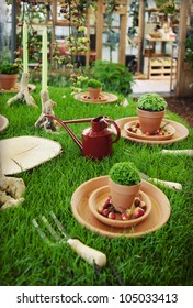 seasonal table decoration with decorative grass