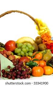 Seasonal varied tropical fruit basket.  Studio, white background.