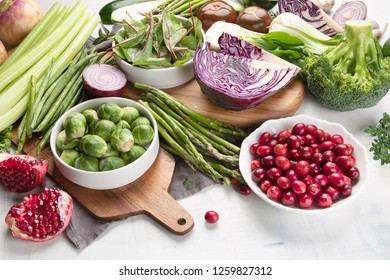 Seasonal vegetables for healthy cooking. Top view, flat lay