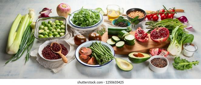 Seasonal vegetarian, vegan cooking ingredients. Healthy food background. Top view. Flat lay