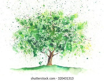 Seasonal watercolor tree painted in a summer theme