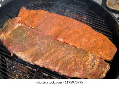 Seasoned Ribs Cooking on the Grill