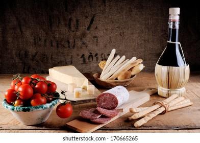 seasoned salami sliced a Italian snack