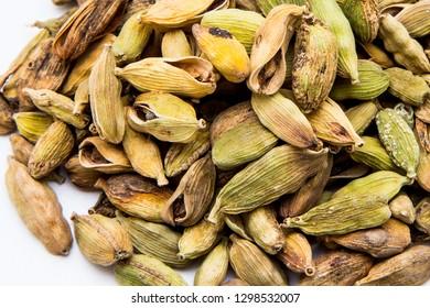The seasoning of cardamom isolated on white