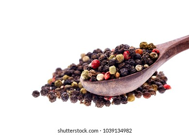 Seasoning - four kinds of pepper peas - isolated on white background