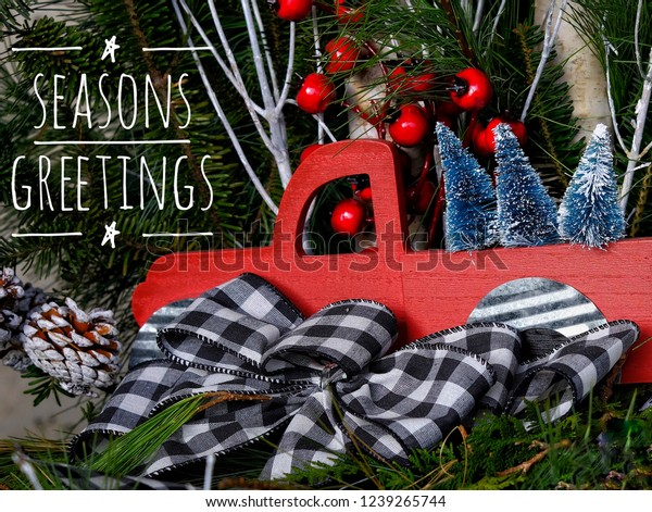 Christmas In Evergreen Truck.Seasons Greetings Text Christmas Card On Stock Photo Edit