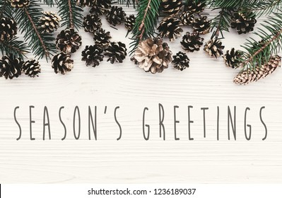 Season's greetings text on modern christmas flat lay with green fir branches, golden pine cones and stars. Holiday greeting card. Merry Christmas and Happy new year