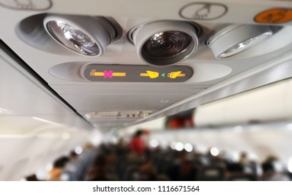 seat belt sign in the airplane