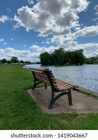 Seat by the River Thames on summer day