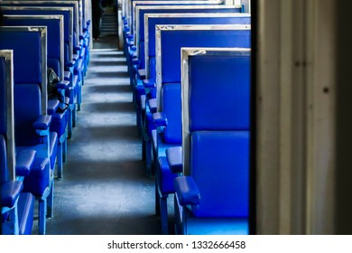 Seat layout inside old diesel train