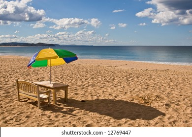 Seat and Parasol on the beach