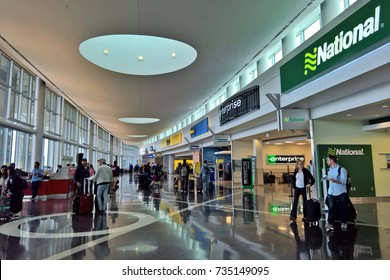 SEATAC, WA - AUGUST 27, 2016: The Consolidated Rental Car Facility at Seattle-Tacoma International Airport opened in May 2012 and can process 12,000 to 14,000 cars daily.