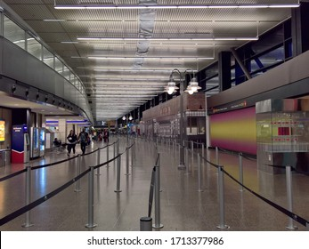 SEATAC, WA - JULY 17, 2019 - An empty queue leading up to the TSA security screening checkpoint in the main terminal of Sea-Tac.