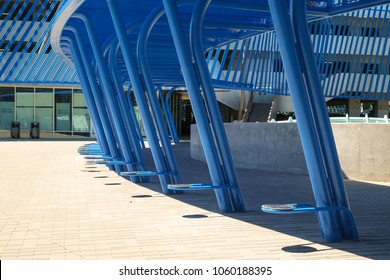 SeaTac, WA, USA May 28, 2017: Angle Lake station for Seattle, Washington's Sound Transit Link Light Rail transit system is a blue steel architectural beauty