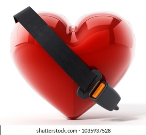 Seatbelt around the red heart. 3D illustration.
