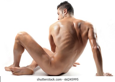 Seated brawny man