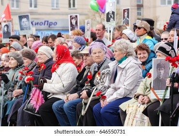 Seated elderly people. Kirishi, Russia - 9 May, 2017. Holding a festive rally dedicated to the Victory Day.