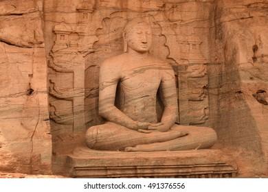 Seated meditation carved Buddha statue at the rock temple, Polonnaruwa, Sri Lanka