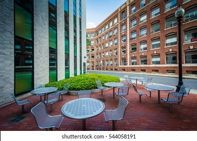 Seating area and buildings at Northeastern University, in Boston, Massachusetts.