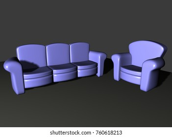 Seating area with Chairs 3D-rendering