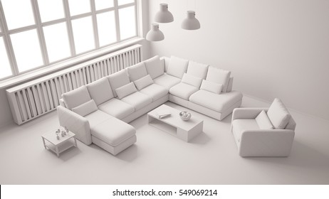 Seating area with couch in living room of loft from above all in white (3D Rendering)