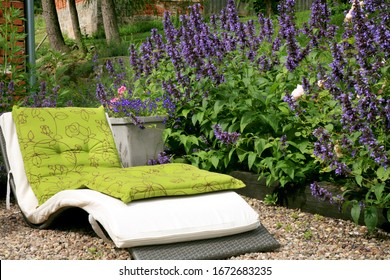 A seating area in a homey, ecological garden. Insect-friendly blooming garden with garden furniture, deckchairs.