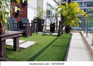 Seating area on the terrace of high rise building in the city.