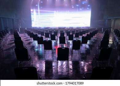 Seating arrangement for concerts ,Keep spaced between each  chairs make separate for social distancing concept to avoid Coronavirus (COVID-19) pandemic. - Shutterstock ID 1794017089