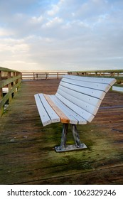 Seating bench on fishing pier at Redondo Beach, Washington made from composite man-made materials