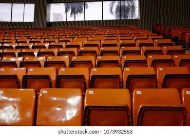 Seating of an indoor basketball stadium