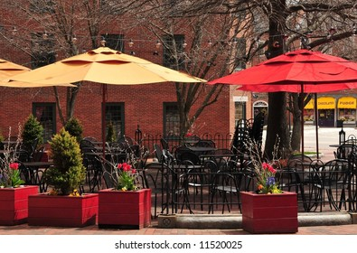 Seating at an outdoor cafe