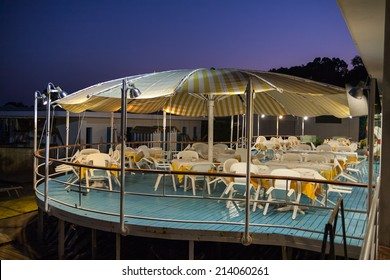 Seating for a restaurant on a deck. .