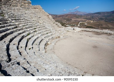 Seating in Segesta Greek style ancient theatre in Sicily-Edit