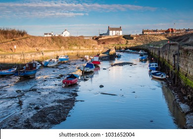 Seaton Sluice Natural Harbour, at Seaton Sluice village on the Northumberland coast, with a natural harbour formed by the Seaton Burn