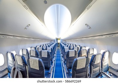 Seats in an airplane aisle