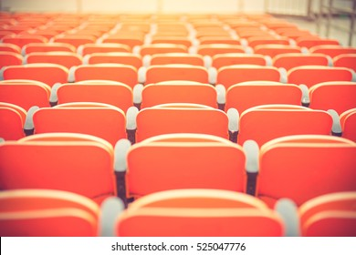 seats in a football stadium. Championship, football, places for spectators.Vintage color