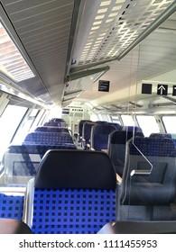 Seats and Isle Inside Train car