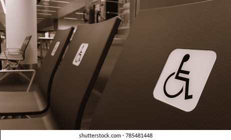 seats reserved for people with wheelchair or disabled passengers at airport
