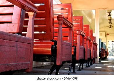 Seats in a train car