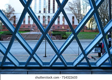 Seattle 2013, detail of the blue steel net structure of the public library, here the view from the side pedestrian canopy closed by the pattern structure
