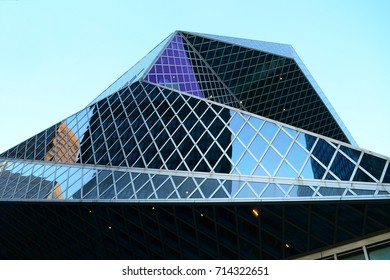 Seattle 2013, detail external view of Seattle public library looking up to its tilted projections and unconventional volumes