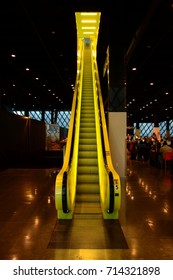 Seattle 2013, Public library. The detail of one of the yellow escalator