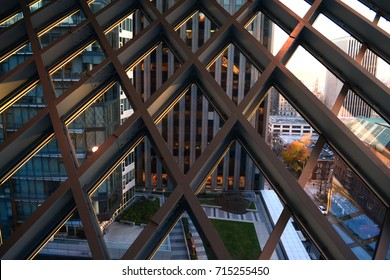 Seattle 2013, Public library interior. View of the streets outside the window trough the particular blue steel grid of the metal structure designed by Rem Koolhaas