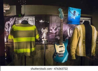"SEATTLE - April 15,2016 : Detail from the EMP Museum exhibit ""Nirvana: Taking Punk to the Masses"""