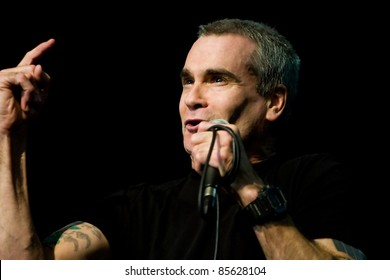 SEATTLE - APRIL 6: Controversial, singer, actor, poet and spoken word artist Henry Rollins performs on stage at the Triple Door Theater in Seattle, Washington on April 6, 2011.