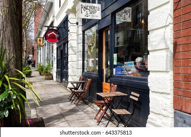 SEATTLE - April 8, 2017: Cafe exterior in the Ballard neighborhood on a pretty street in the business district with inviting restaurants and boutiques.
