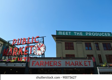 SEATTLE - AUGUST 19: The Pike Place Public Market Historic District on August 19, 2011 in Seattle, USA. Pike Place Market is a market in the United States serving 10 million people annually.