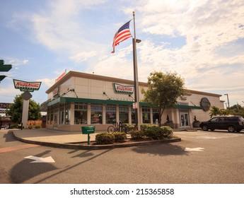 SEATTLE - AUGUST 2, 2014: A Krispy Kreme restaurant near Seattle, WA is ready for business.