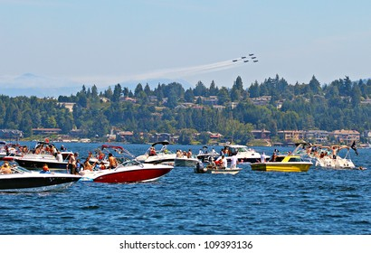 SEATTLE - AUGUST 3: Seafair celebrates the opening of boating season with the Blue Angels over Lake Washington, Seattle 3 August 2012